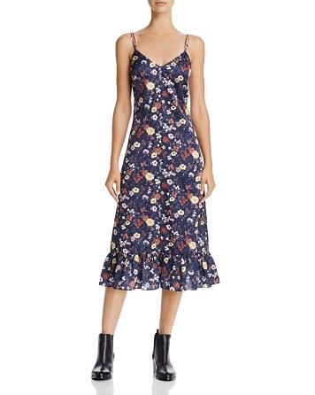 $En Créme Floral Print Satin Midi Dress - Bloomingdale's