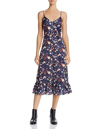 En Créme - Floral Print Satin Midi Dress