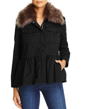 kate spade new york - Faux-Fur Collar Military Peplum Jacket