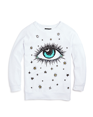 Aqua x Lauren Moshi Girls' Cosmic Eye Pullover, Big Kid - 100% Exclusive