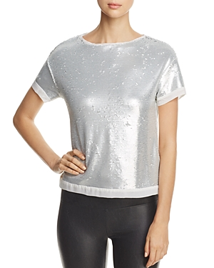Three Dots Sequined Boxy Top
