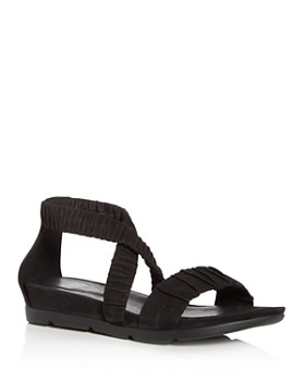 Eileen Fisher - Women's Dylan Tumbled Nubuck Leather Demi Wedge Sandals