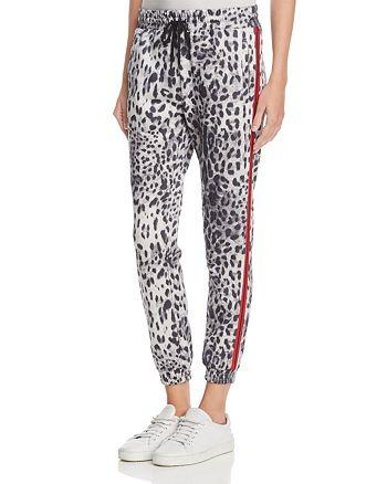Honey Punch - Leopard Print Tuxedo Stripe Jogger Pants