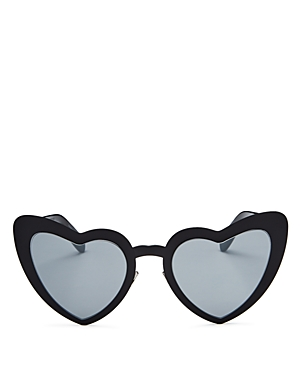 Saint Laurent SL196 Lou Lou Mirrored Heart Sunglasses, 55mm