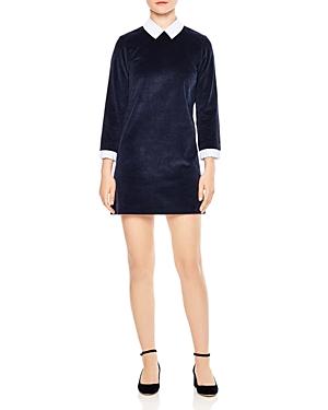 Sandro Laury Contrast-Collar Corduroy Mini Dress