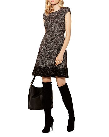 KAREN MILLEN - Lace-Trim Tweed Dress