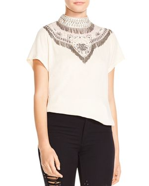Haute Hippie Through The Looking Glass Embellished Tee