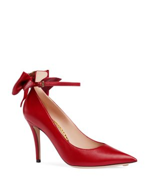 WOMEN'S QUEEN MARGARET LEATHER POINTED TOE ANKLE STRAP PUMPS