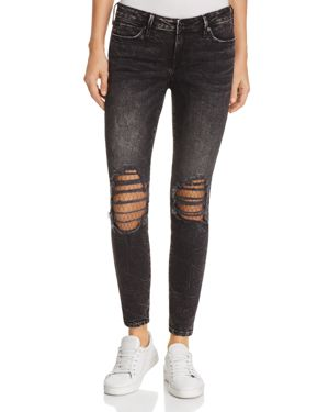 True Religion Halle Mid-Rise Super Skinny Jeans in Raven Fever