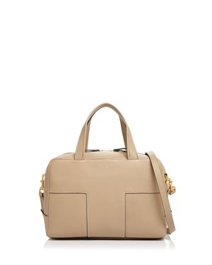 Tory Burch Block-t Pebbled Leather Zip Satchel