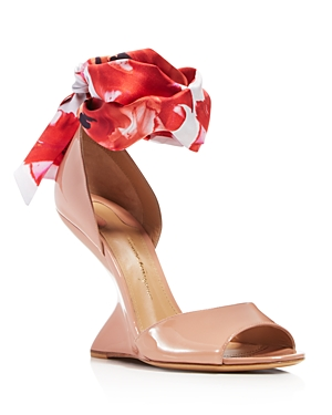 Salvatore Ferragamo Women's Patent Leather & Floral-Print Silk Ankle Tie F-Wedge Sandals