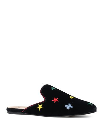 Gucci - Women's Kibi Embroidered Velvet Mules