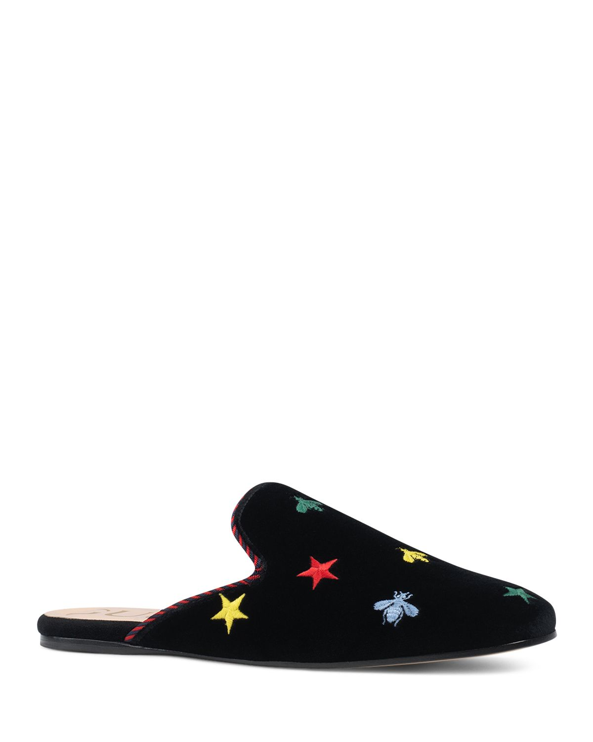 Gucci Embroidered velvet mules