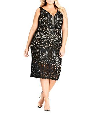 Trendy Plus Size All Class Lace Sheath Dress, Black