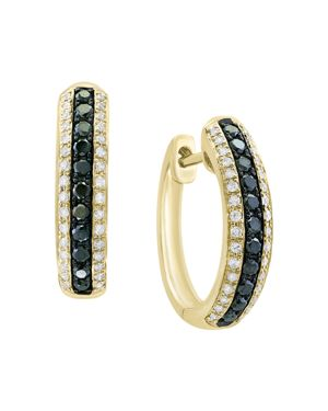 Bloomingdale's Black & White Diamond Hoop Earrings in 14K Yellow Gold - 100% Exclusive
