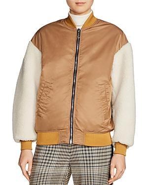 Maje x Schott Boston Shearling-Sleeve Bomber Jacket