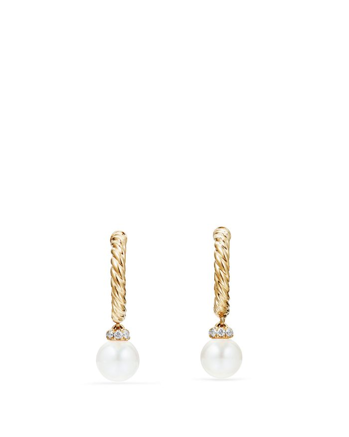 David Yurman Solari Hoop Earrings with Cultured Akoya Pearl & Diamonds in 18K Gold  | Bloomingdale's