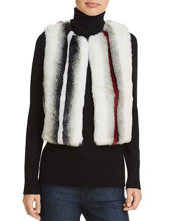 Elie Tahari - Lilian Striped Faux Fur Vest