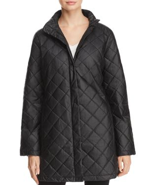 Eileen Fisher Stand-Collar Quilted Jacket