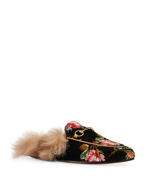 Gucci - Women's Princetown Velvet & Lamb Fur Mules