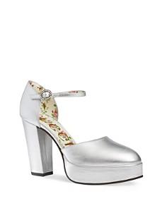 Gucci - Women's Leather Ankle Strap Platform Pumps