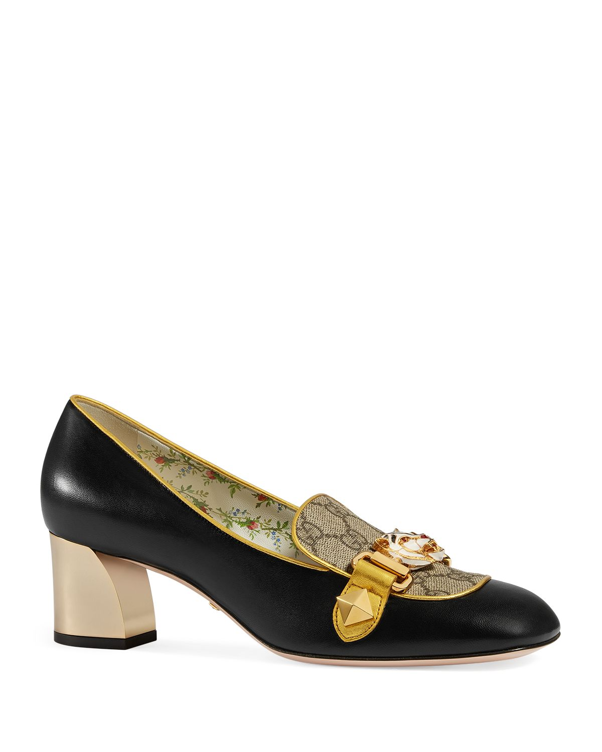 Womens Cheryl Leather & Canvas Pumps Gucci