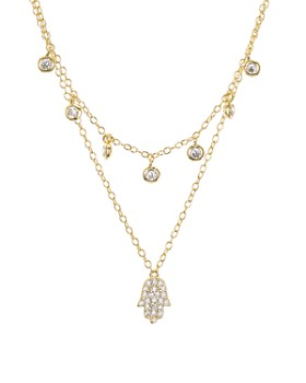 f0d5c5c48 AQUA - Sterling Silver Hamsa Layered Necklace, 16-17
