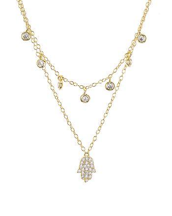 "AQUA - Sterling Silver Hamsa Layered Necklace, 16-17"" - 100% Exclusive"