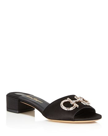 Salvatore Ferragamo - Women's Satin & Swarovski Crystal Slide Sandals