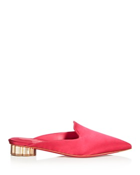 Salvatore Ferragamo - Women's Satin Pointed Toe  Floral Heel Mules