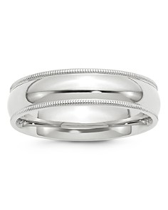 Bloomingdale's - Men's 6mm Milgrain Comfort Fit Band in 14K White Gold - 100% Exclusive
