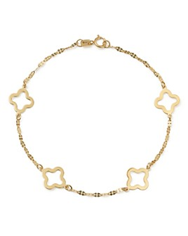 Bloomingdale's - Quatrefoil Station Bracelet in 14K Yellow Gold - 100% Exclusive Product Description