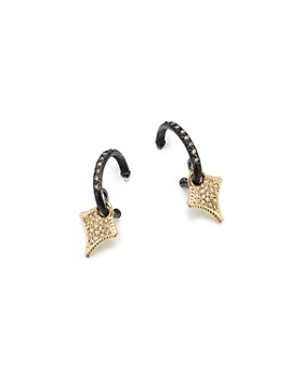Armenta - 18K Yellow Gold & Blackened Sterling Silver Old World Cravelli Champagne Diamond Drop Huggie Earrings