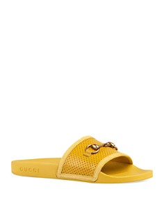 Gucci - Women's Pursuit Horsebit Leather Slides