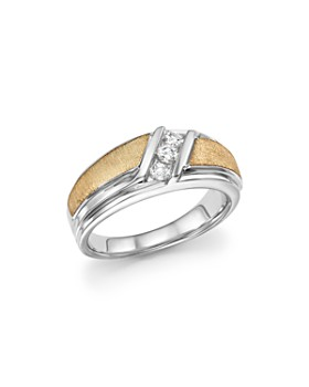 Bloomingdale's - Men's Diamond Three-Stone Band in 14K White & Yellow Gold, 0.33 ct. t.w. - 100% Exclusive
