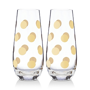 kate spade new york Pearl Place Stemless Champagne Flute, Set 2