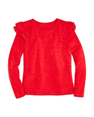 Aqua Girls RuffledShoulder Sweater Big Kid  100 Exclusive