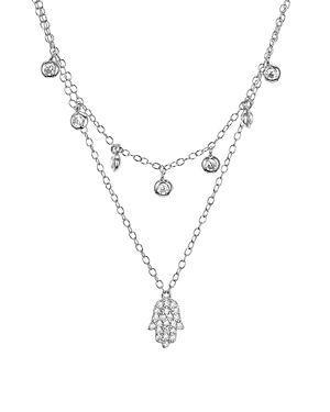 Sterling Silver Hamsa Layered Necklace