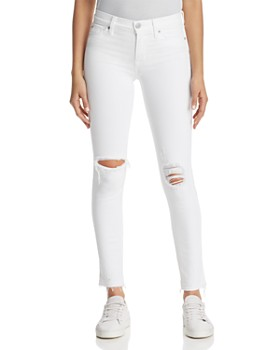 Hudson - Nico Ankle Skinny Jeans in Optical White Destructed