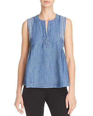 Aqua Embroidered Pleated Chambray Top - 100% Exclusive