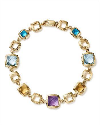 Bloomingdale's - Multi Gemstone Square Link Bracelet in 14K Yellow Gold - 100% Exclusive
