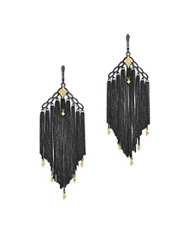 Armenta - 18K Yellow Gold & Blackened Sterling Silver Old World Cravelli Champagne Diamond Chain Chandelier Earrings