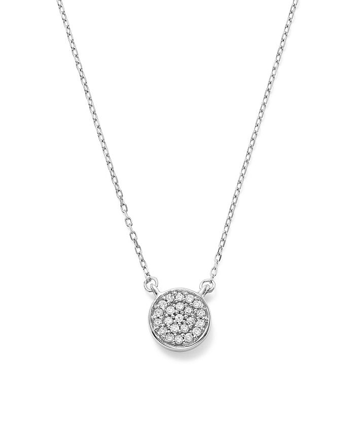 """Adina Reyter - 14K White Gold Pavé Diamond Disc Necklace, 15"""""""
