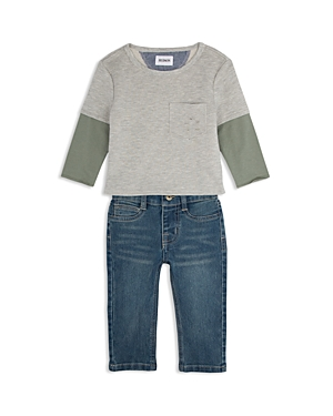Hudson Boys Distressed French Terry Tee  StraightLeg Jeans Set  Little Kid