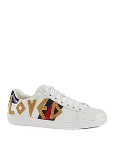 Gucci - Women's New Ace Appliqué Low-Top Sneakers