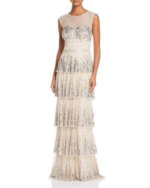 Aidan Mattox Embellished Tiered Gown