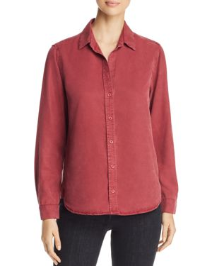 Side Stitch High/Low Button Down Shirt