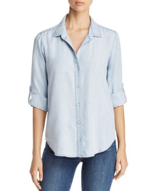Side Stitch Tie Back Button Down Chambray Shirt - 100% Exclusive