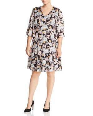 B Collection by Bobeau Curvy Florice Floral Print Dress
