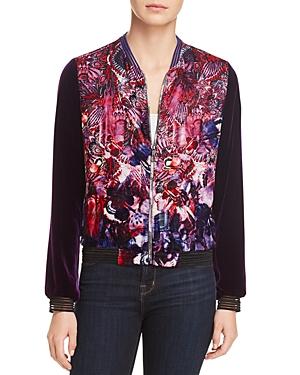 T Tahari Fatima Printed Velvet Jacket